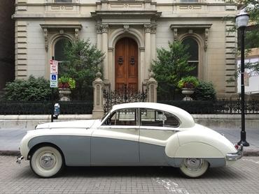 Vintage grey wedding transport