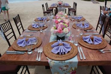 Beach purple wedding reception decor