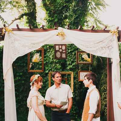 Summer brown wedding ceremony decor