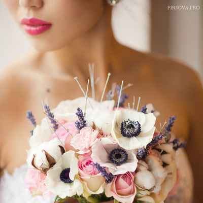 Pink anemone wedding bouquet