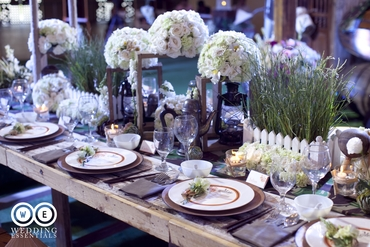 Rustic white wedding reception decor