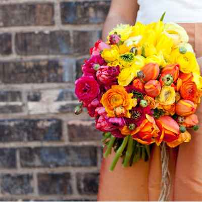 Autumn orange rose wedding bouquet