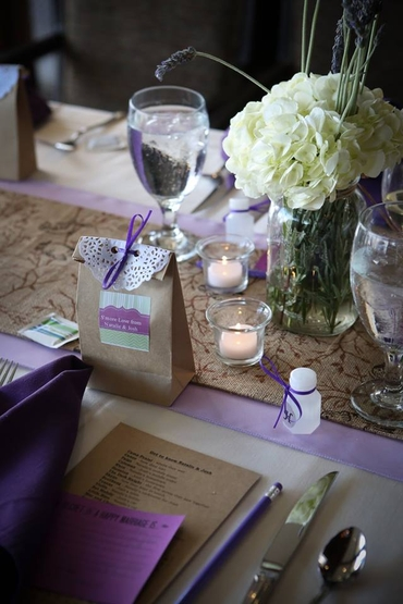Rustic purple wedding favours