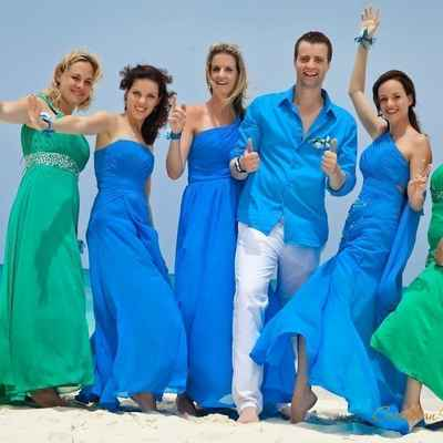 Overseas white bridesmaids