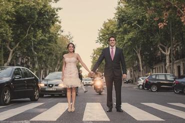 Outdoor pink short wedding dresses