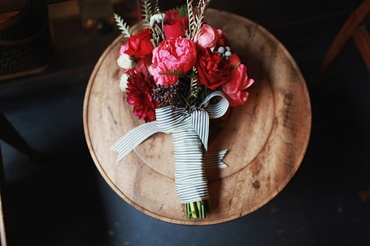 Rustic red aster wedding bouquet
