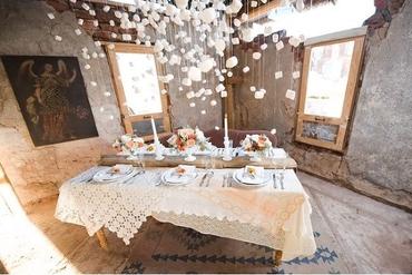 Rustic ivory wedding reception decor