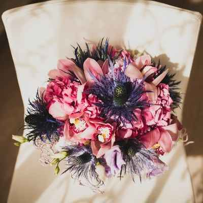 Pink orchid wedding bouquet