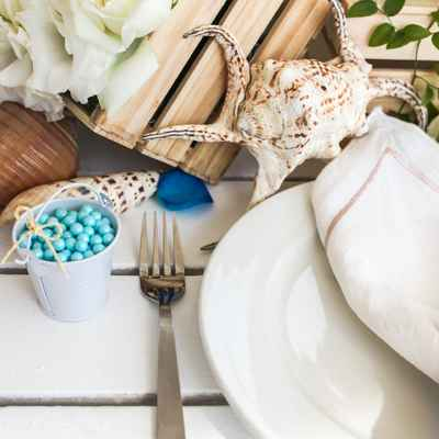 White beach wedding reception decor