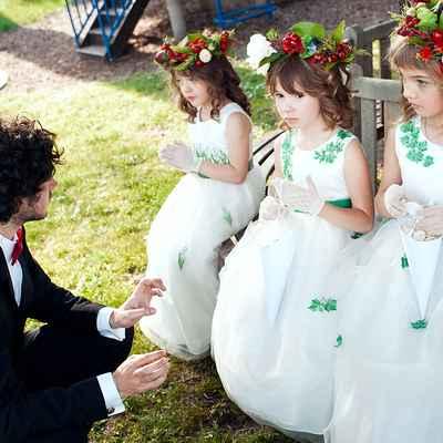 Green kids at wedding