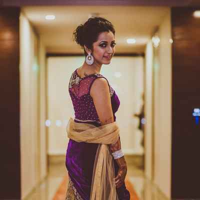Ethnical purple long wedding dresses