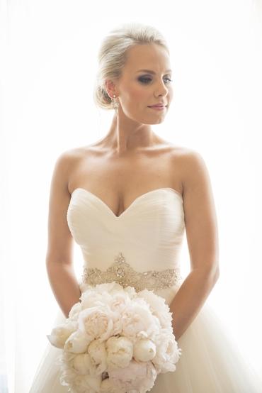 Overseas ivory peony wedding bouquet
