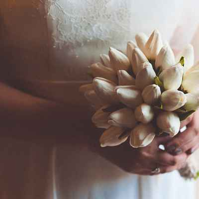 Ivory tulip wedding bouquet