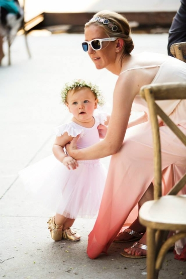 Outdoor pink kids at wedding