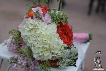 White hydrangea wedding bouquet