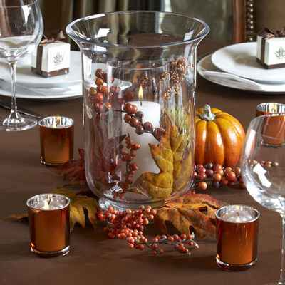 Autumn brown wedding reception decor