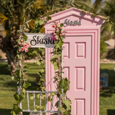 Outdoor pink wedding reception decor