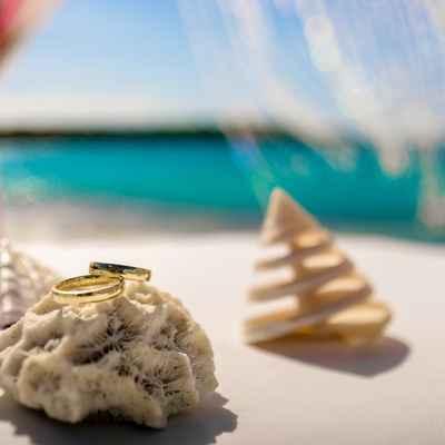Beach wedding rings