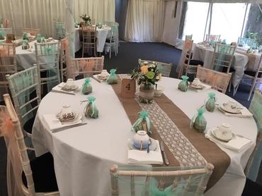 Rustic white wedding reception decor