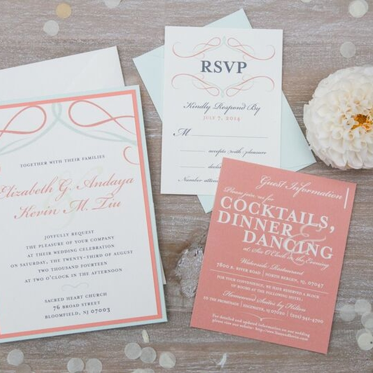 Mint & Coral Wedding Invitations