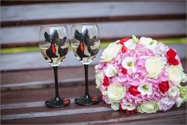 Pink eustoma wedding bouquet