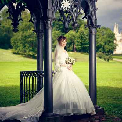 English long train wedding dresses
