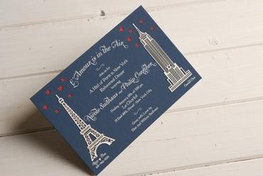 Themed blue wedding invitations