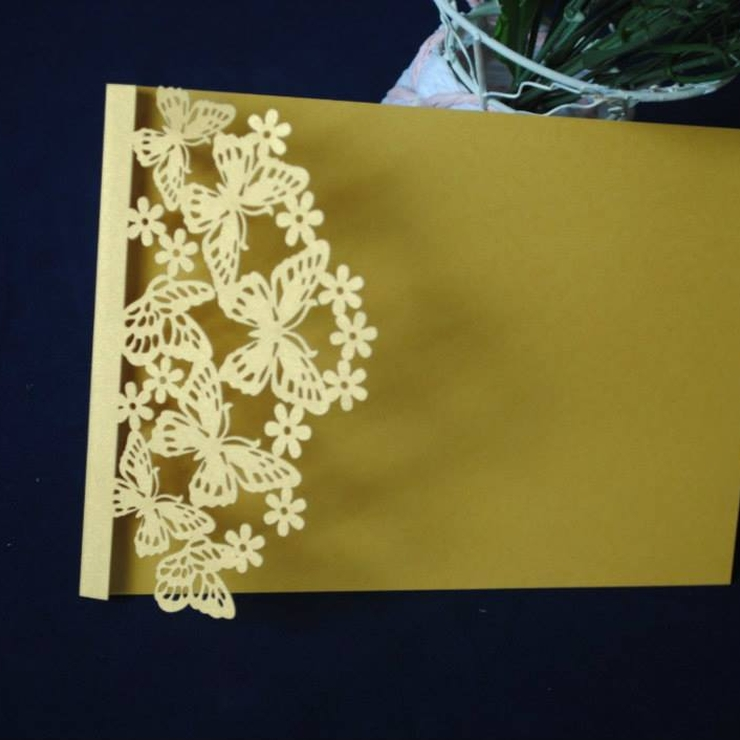 Gold White and Cream Laser Cut Invitations