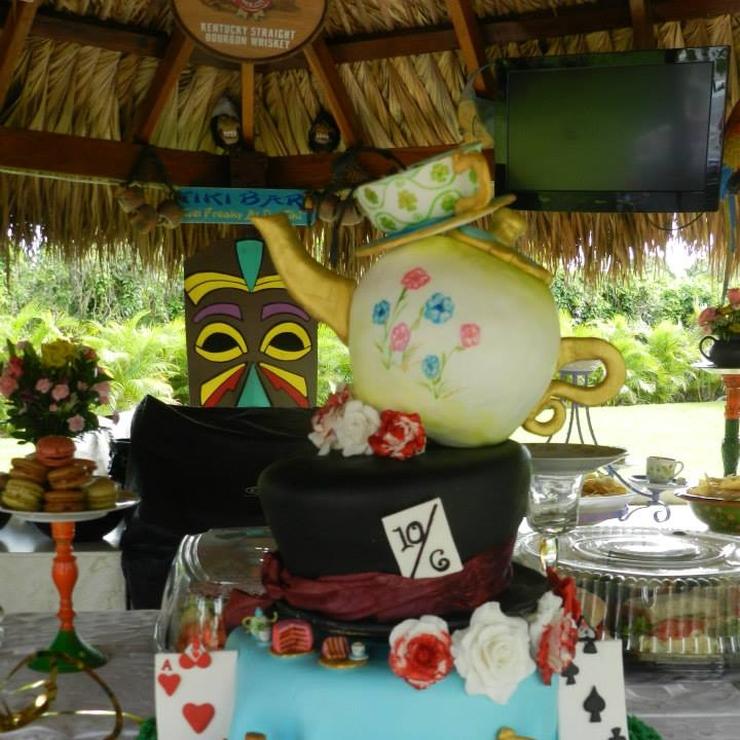 Topsy Turvy Alice in Wonderland Bridal Shower Cake