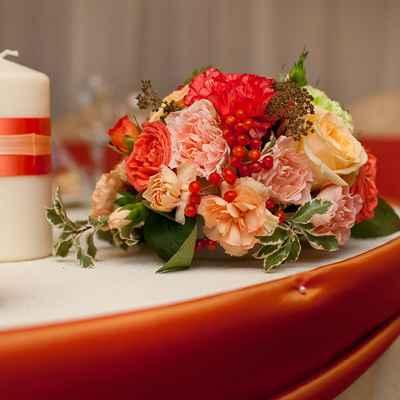 Autumn orange wedding reception decor