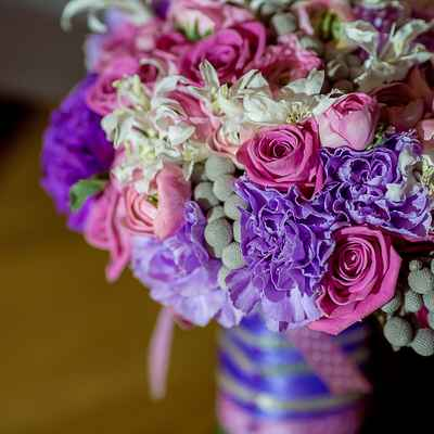 Purple carnation wedding bouquet