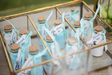 Outdoor blue wedding favours