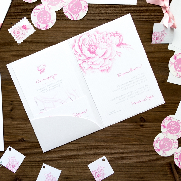 Peony wedding stationery.