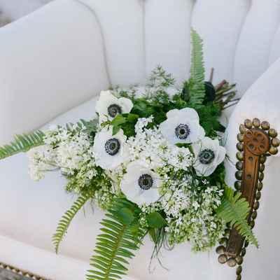 White anemone wedding bouquet