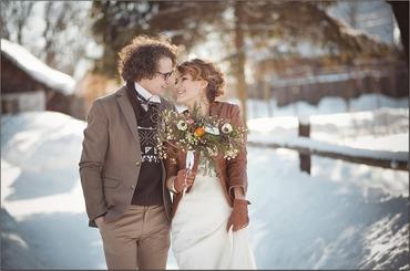 Winter brown real weddings