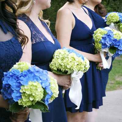 Outdoor blue hydrangea wedding bouquet