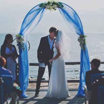 Marine blue wedding ceremony decor