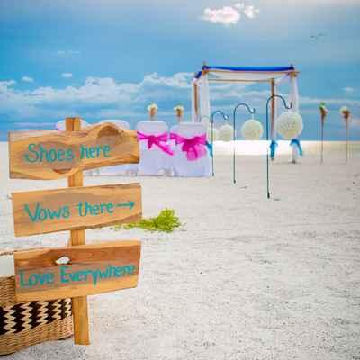 Blue wedding signs