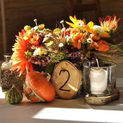 Rustic orange wedding signs