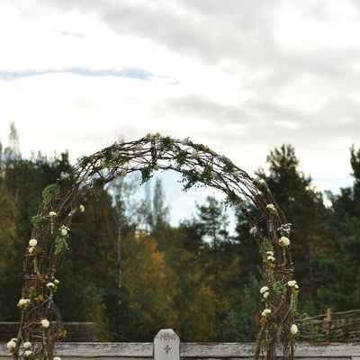 Rustic autumn wedding ceremony decor