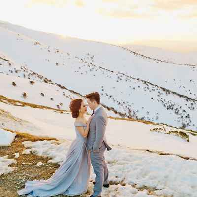 Outdoor winter grey long wedding dresses