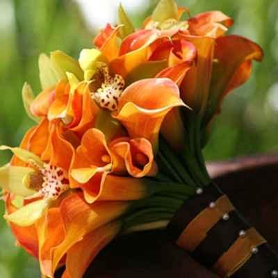 Orange orchid wedding bouquet