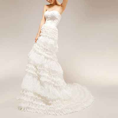 Mediterranean long train wedding dresses