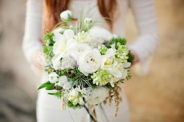 Rustic white rose wedding bouquet