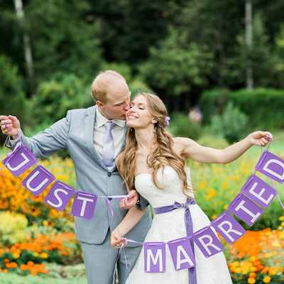Summer purple wedding signs