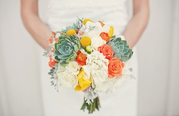 Yellow peony wedding bouquet