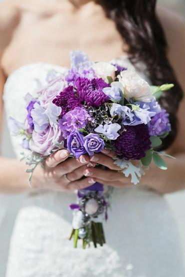 Purple aster wedding bouquet