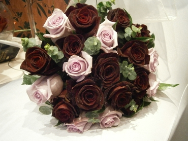 Brown rose wedding bouquet