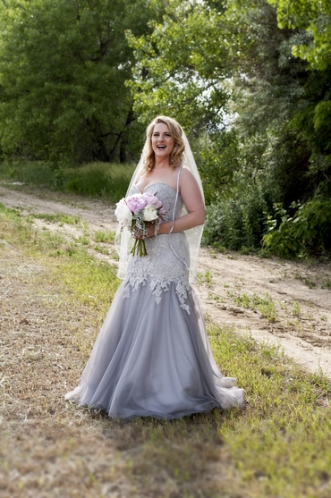 Outdoor grey long wedding dresses