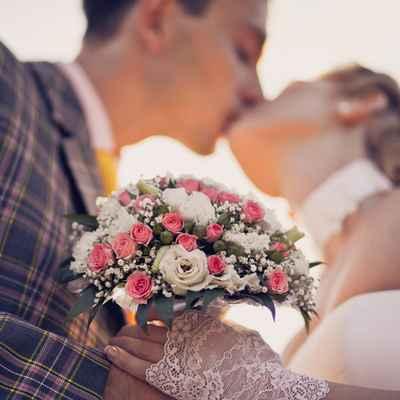 Vintage pink eustoma wedding bouquet